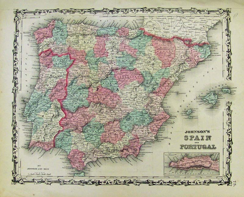 Detailed Map Of Spain.Prints Old Rare Iberian Peninsula Spain And Portugal Antique