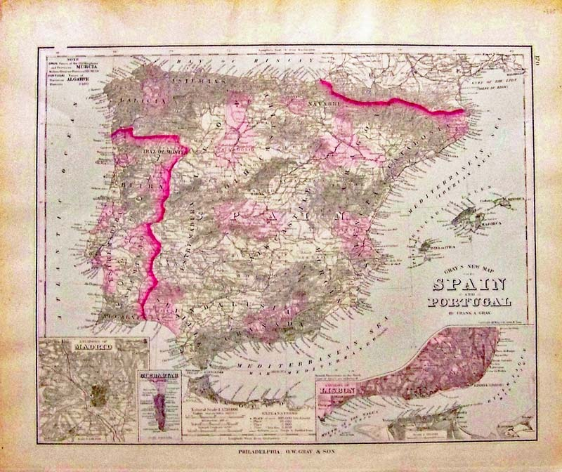 Map Of Spain Detailed.Prints Old Rare Iberian Peninsula Spain And Portugal Antique