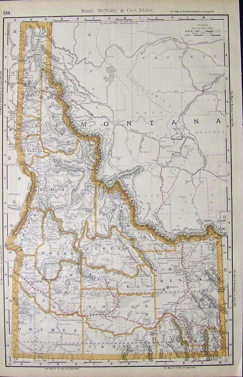 Prints Old Rare Idaho Antique Maps Prints
