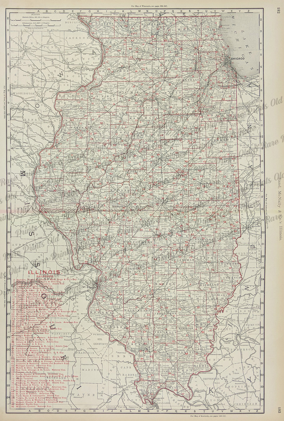 Prints old rare illinois antique maps prints 1898 color outlined illinois railroads map published by rand mcnally company detailed railroads key is on bottom left side of map 27 x 20 12 in gumiabroncs Image collections