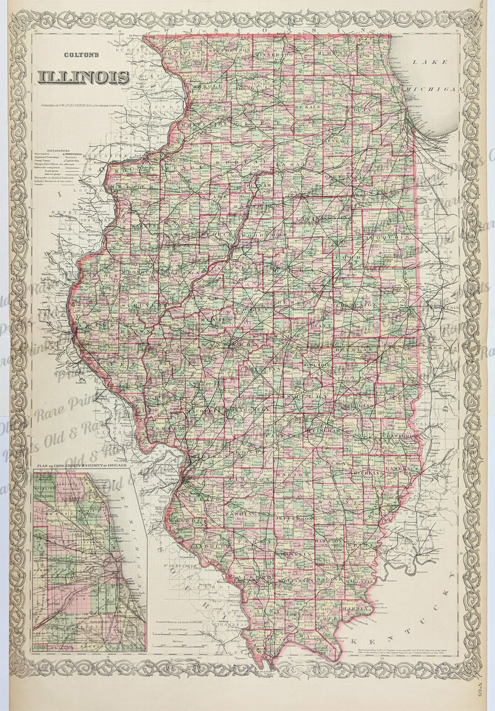 Prints Old Rare Illinois Antique Maps Prints