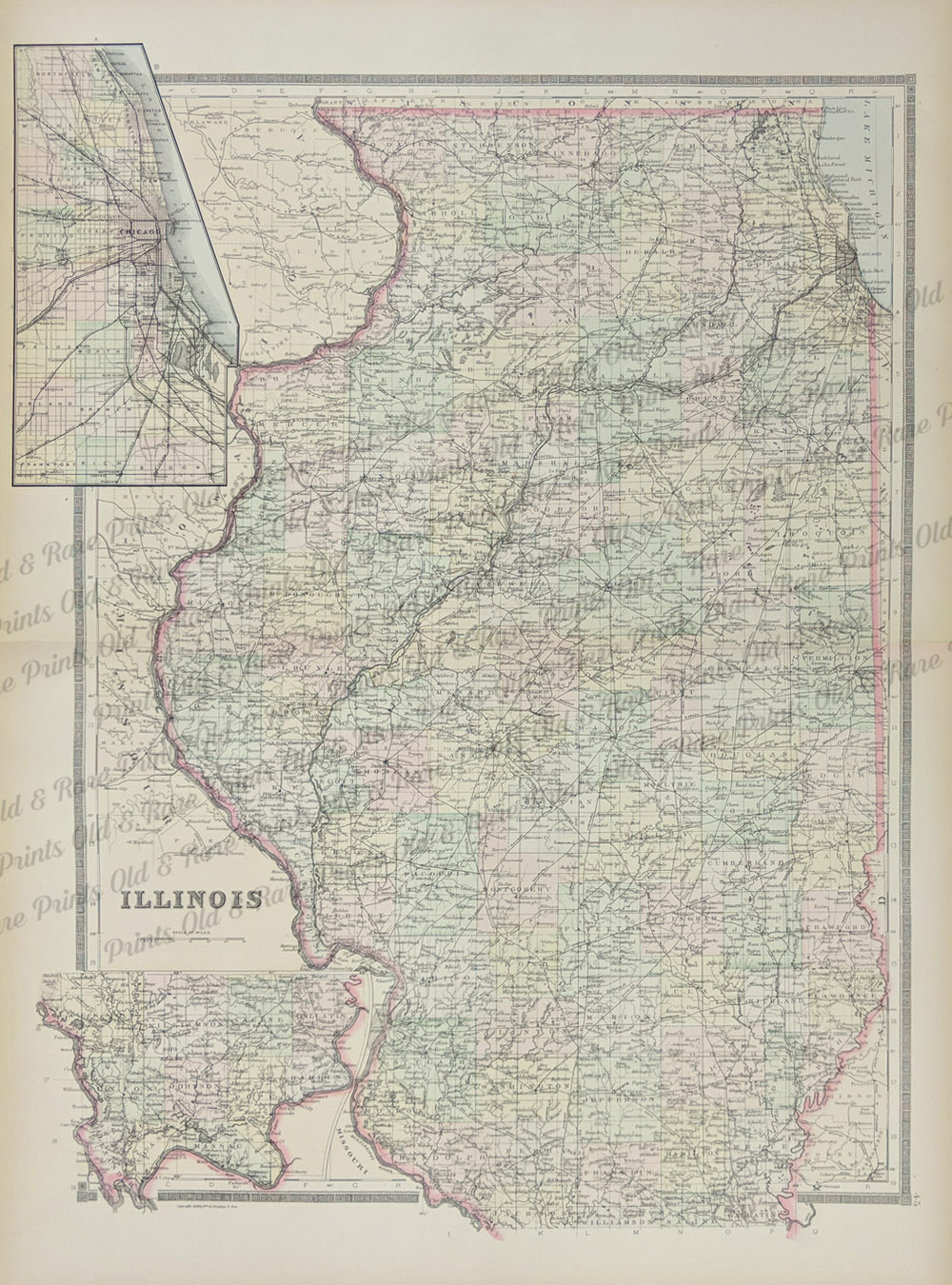 Prints old rare illinois antique maps prints 1886 bradleys atlas of the worlds hand colored map of illinois with inset of downtown chicago 26 x 19 in gumiabroncs Image collections
