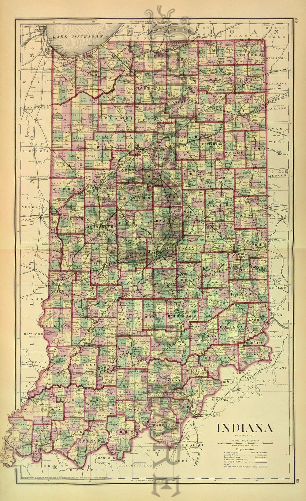 Prints Old & Rare - Indiana - Antique Maps & Prints on shreveport map, fort thomas map, cedartown map, waycross map, hopkinsville map, fairmont map, tell city map, mcpherson map, greencastle map, livonia map, clayton map, bennettsville map, villa rica map, elizabeth map, lafayette map, valparaiso map, oolitic map, scottsburg in map, lake charles map, london map,