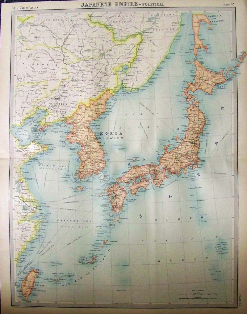 Prints old rare japan antique maps prints 1922 color map showing the japanese empire which included japan korea and taiwan map was by john bartholomew and son and published by the edinburgh gumiabroncs Images