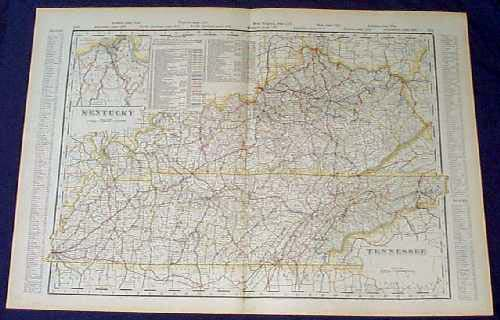 Prints old rare kentucky antique maps prints 1901 map kentucky and tennessee beautiful map from the 1901 first edition of george crams folio size world atlas color coded lines on the map show the gumiabroncs Choice Image