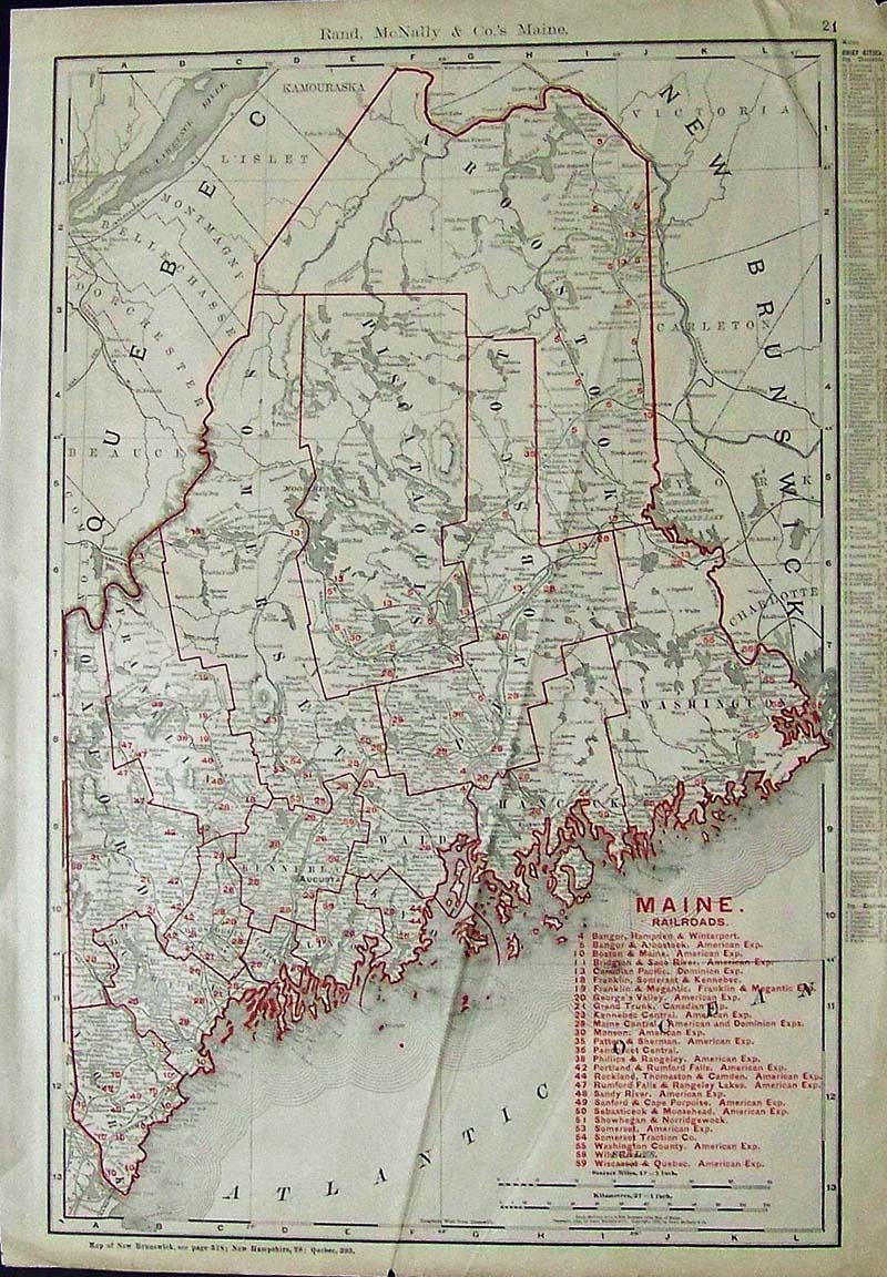 Prints old rare maine antique maps prints 1901 rand mcnally color map of maine showing the oulines of counties the chief cities along with key in red to the maine railroads 20 12 x 14 12 in freerunsca Image collections