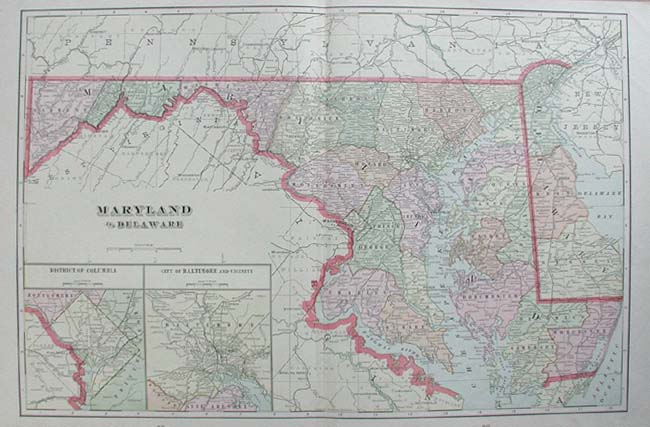 Prints Old Rare Maryland with Baltimore Antique Maps Prints