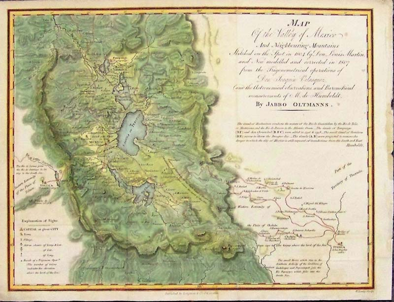1810 map of the valley and city of mexico oltmann a small and very finely detailed and engraved map and hand colored example of the english edition of