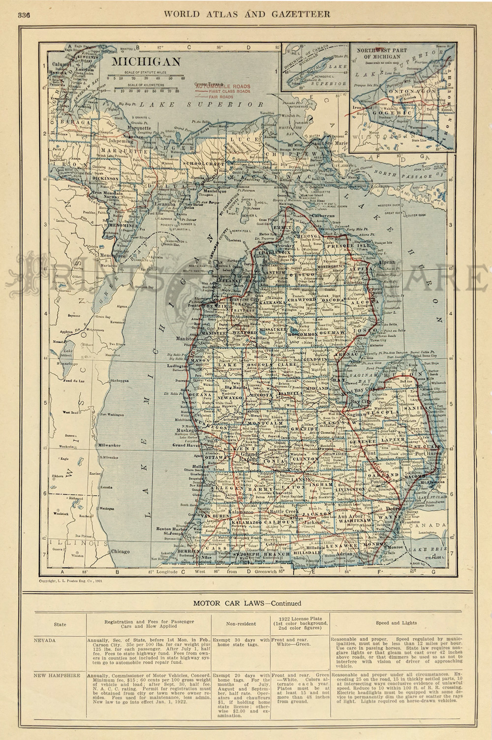Prints old rare michigan antique maps prints color map of michigan from the world atlas and gazetteer 14 12 x 10 12 in gumiabroncs Gallery