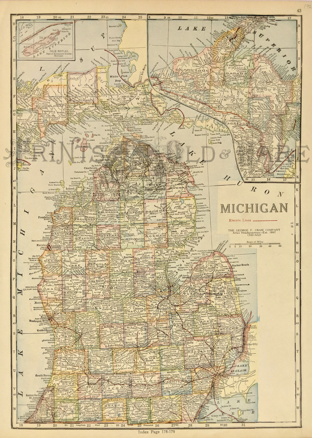 Prints old rare michigan antique maps prints 1924 color michigan map by george f cram which also shows all the electric lines with an inset upper left of lake superiors isle royal and top right gumiabroncs Gallery