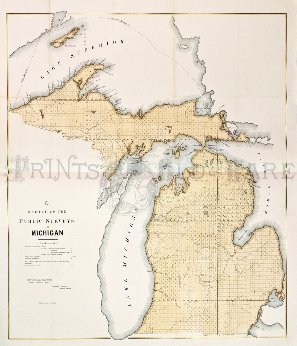 Prints old rare michigan antique maps prints 1853 hand colored lithographed sketch of the public surveys in michigan which also shows the outskirts of lake superior 27 x 23 in freerunsca Choice Image