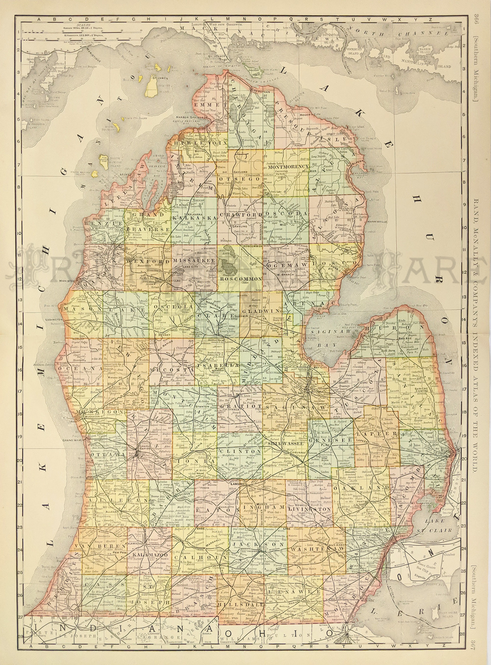 Prints old rare michigan antique maps prints color rand mcnally companys indexed atlas of the worlds map of michigan surrounded by lake superior 27 12 x 20 12 in publicscrutiny Image collections