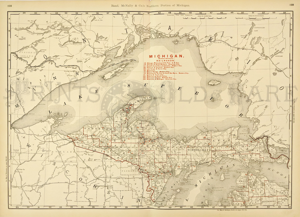 Prints old rare michigan antique maps prints s northern portion of michigan northern peninsula railroads map with red railroads key lake superior shown on top and lake michigan and lake huron shown freerunsca Choice Image