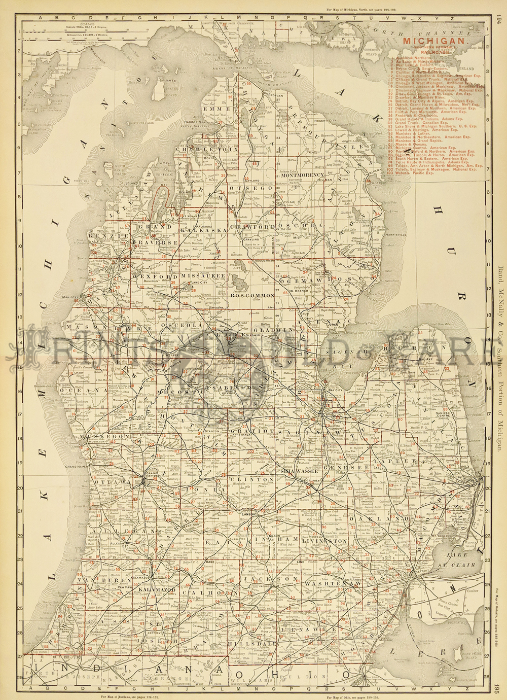 Prints old rare michigan antique maps prints s southern portion of michigan showing all the railroads in red of that era on the southern peninsula counties are also shown and the cities within them publicscrutiny Image collections