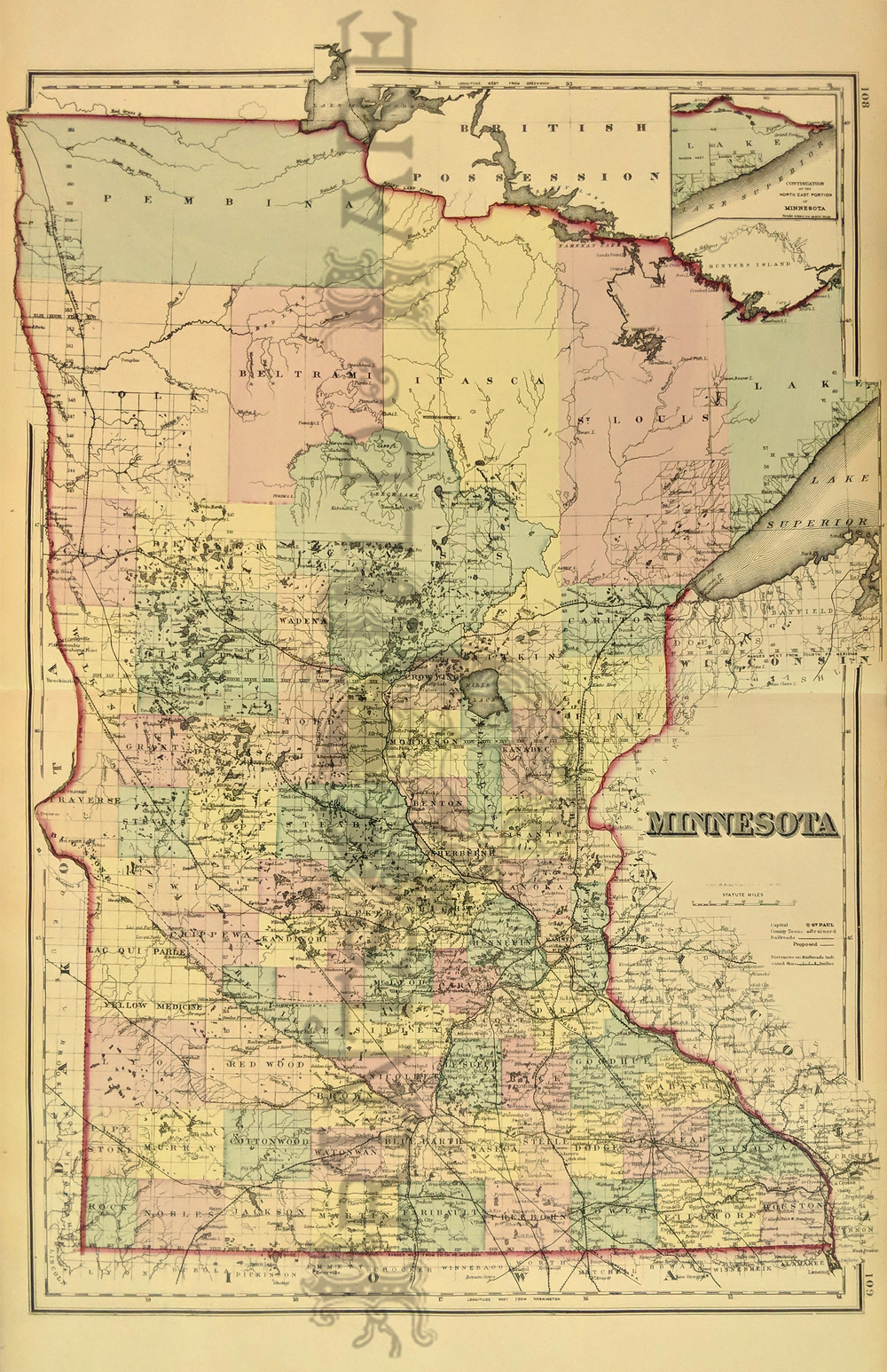 Prints Old & Rare - Minnesota - Antique Maps & Prints