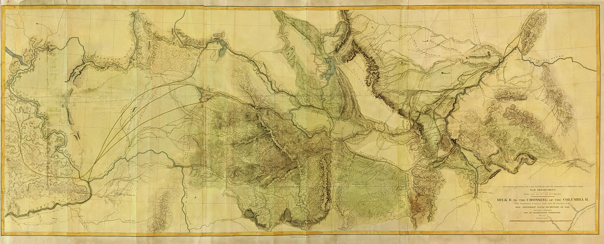 milk river to crossing of columbia river large map from us railroad survey 1855 expedition led by gov stevens of washington territory