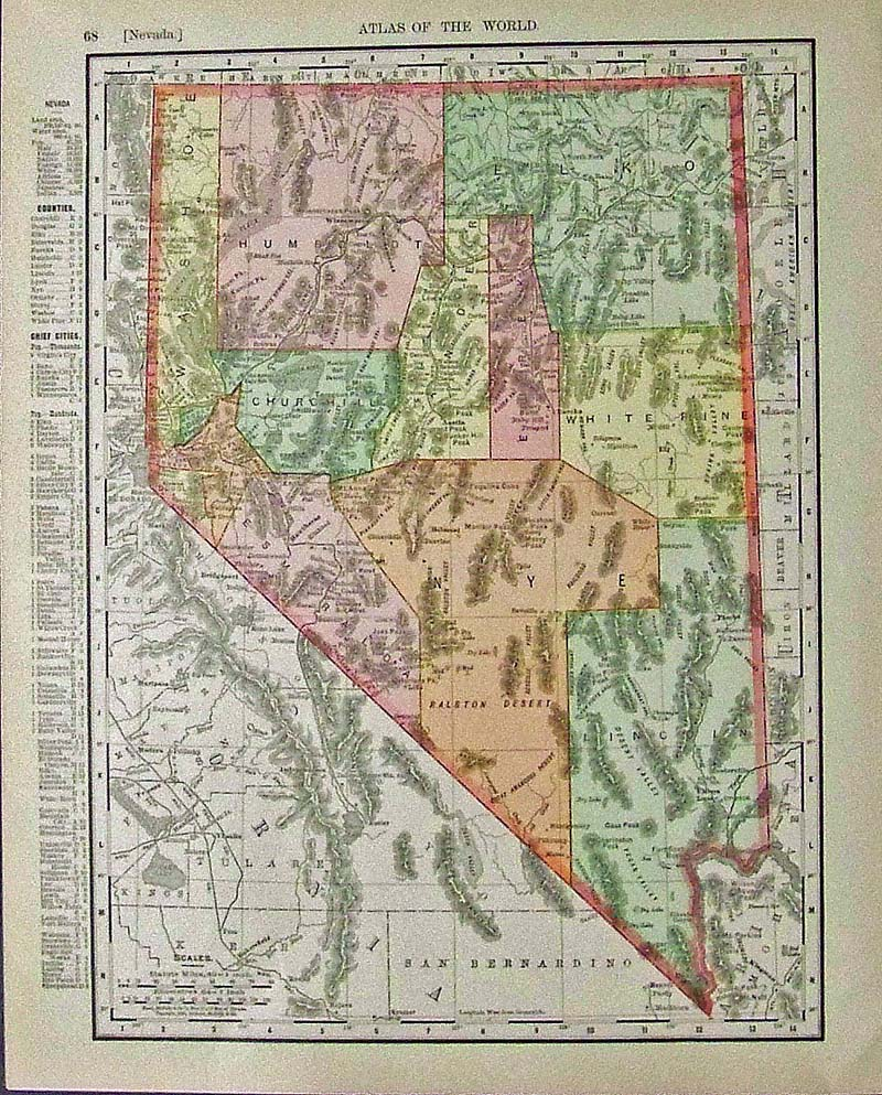 Prints Old & Rare - Nevada - Antique Maps & Prints on nevada on us map, nevada map with capital, nevada road map, nevada river map, nevada physical geography map, las vegas with key, nevada outlines with label,