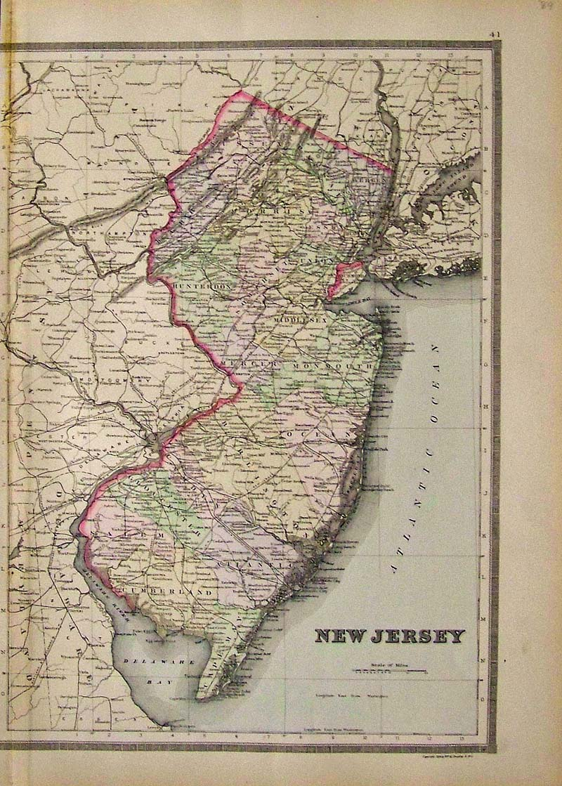 Prints old rare new jersey antique maps prints jh colton original hand colored engraved map of new jersey colton was among the earliest map makers with very accurate maps depicting cities and states gumiabroncs Gallery