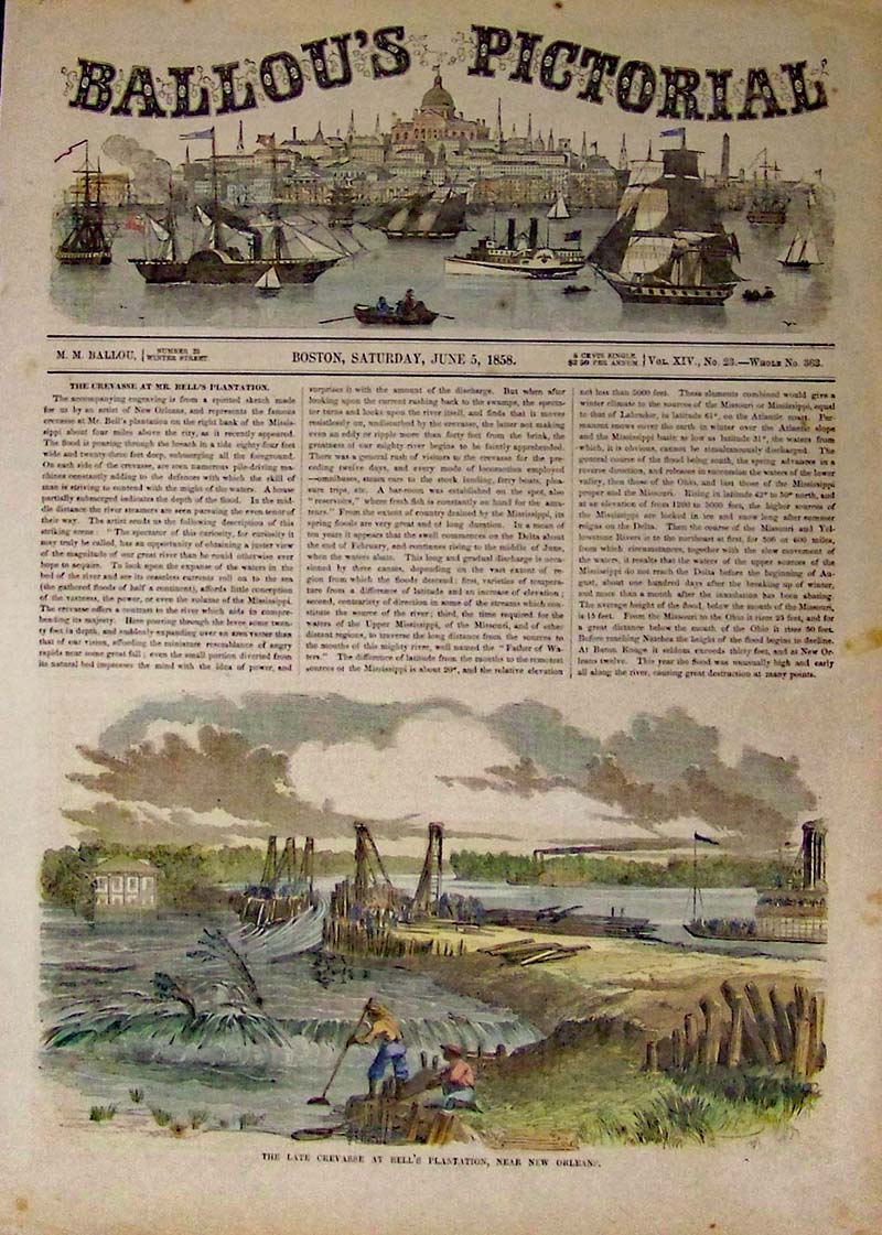 Bell's Plantation in New Orleans - Image shows levee's being broken on the  Bell Plantation. 1858 Hand colored wood engraving featured in Ballou's  Pictorial.