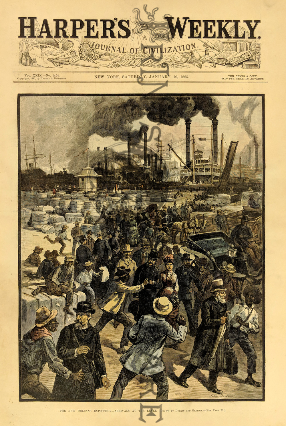 010no: Arrival at Levee - Steamboats in background. Crowds coming for 1885  Cotton Exposition. Hand colored, wood engraving. 16 x 11 in.