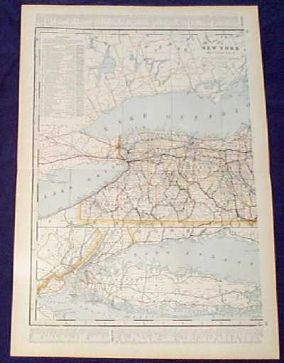 Prints old rare new york antique maps prints 1901 map western new york state beautiful map from the 1901 first edition of george crams folio size world atlas color coded lines on the map show the gumiabroncs Choice Image
