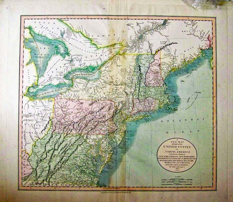 a new map of part of north america carey 1808 a very handsome hand colored and highly detailed engraved map of the northern portion of the united states