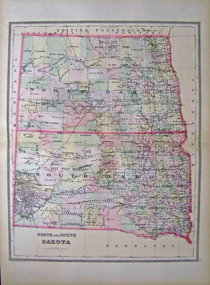 Prints Old & Rare - North Dakota - Antique Maps & Prints