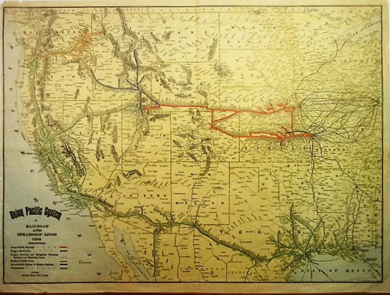 rand mcnally very handsome lithographed and original hand colored map of railroads and steamship lines in the western united states