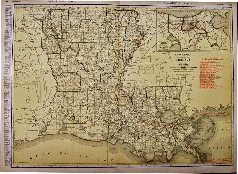 Prints Old Rare Railroads Antique Maps Prints - Historic maps louisiana
