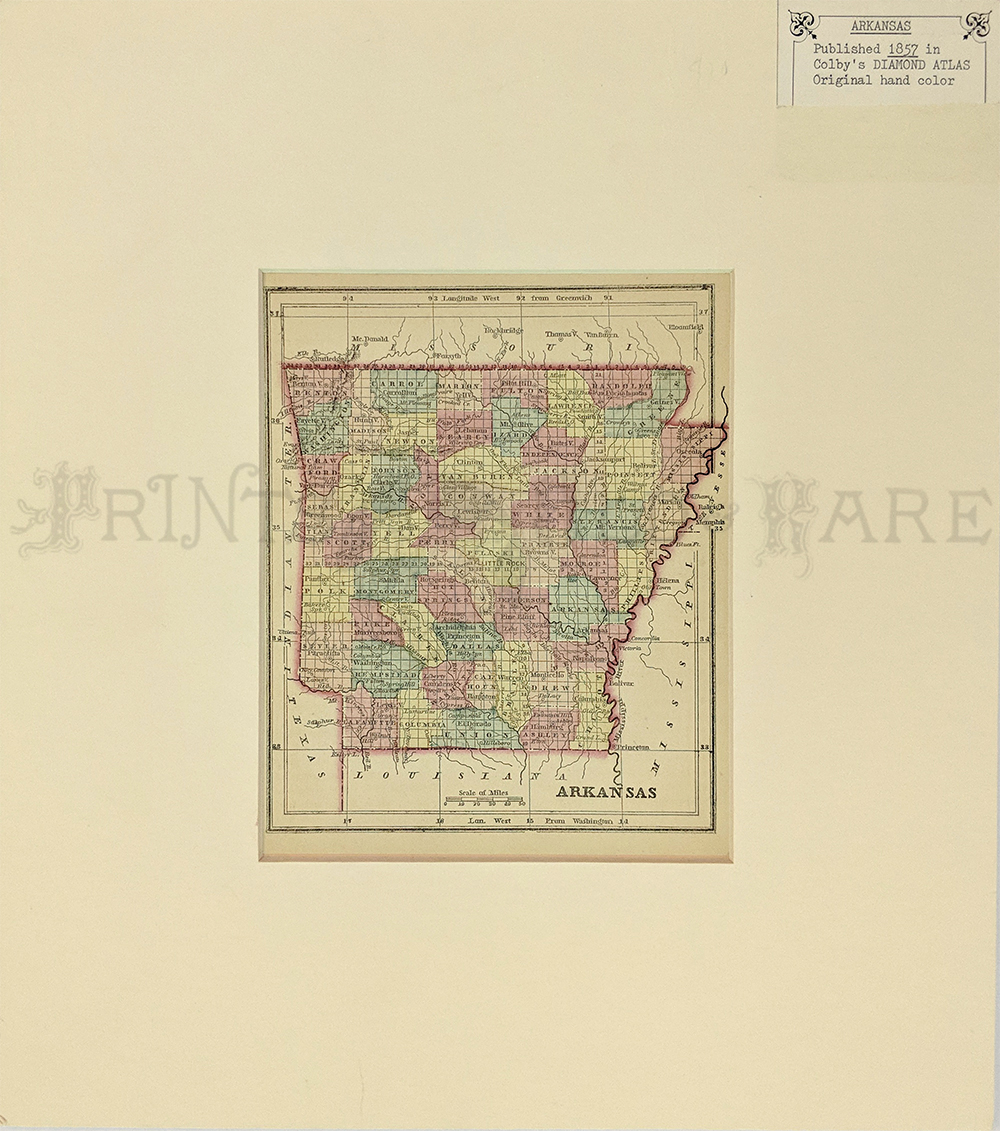 arkansas map was published in 1857 as a part of colbys diamond atlas it has its original hand coloring with each county in a different pastel color