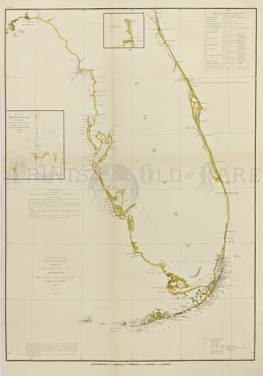 Prints old rare rare antique maps prints 1855 coast survey map of florida with insets of tortugas island and upper eastern coast tampa bay st augustine indian river inlet fort pierce gumiabroncs Images