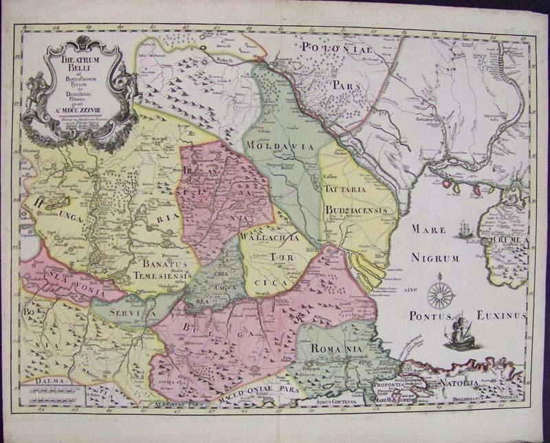 1738 hand colored copper engraved map titled the atrum belli ad borysthenem tyram danubiam eluvios gesti theatrum between dniepr and danube rivers