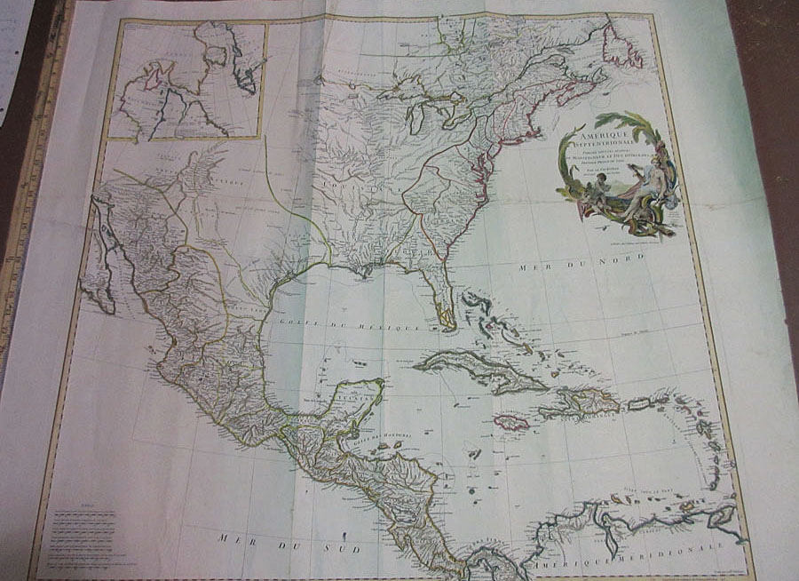 1746 hand colored copper engraved map showing amerique septentrionale french map of north america by jean baptiste bourguignon danville paris