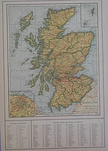 1917 map of scotland map of scotland was published in the world atlas and gazetteer in 1917 it shows scotlands major geographical details and includes a