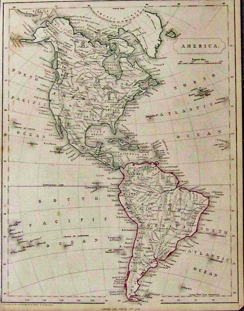 Antique Map Of North America.Prints Old Rare South America Antique Maps Prints