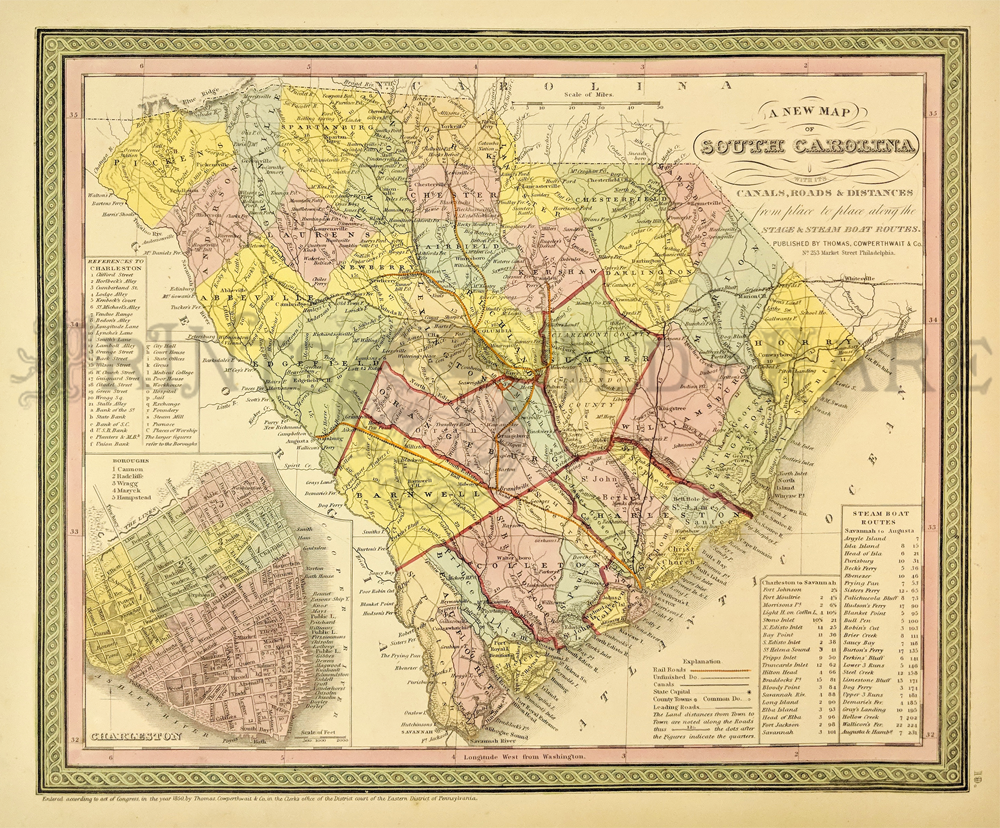 Lowcountry South Carolina Map.Prints Old Rare South Carolina Antique Maps Prints
