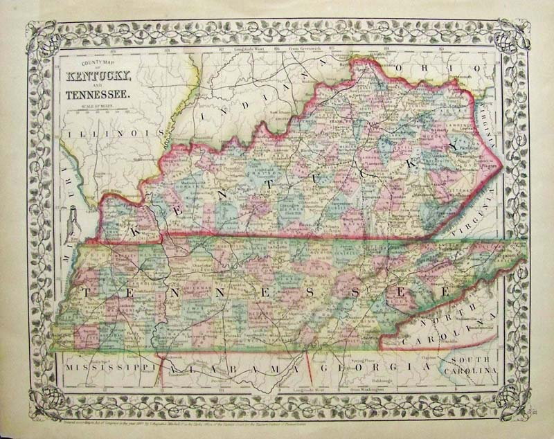 Prints Old Rare Tennessee Antique Maps Prints