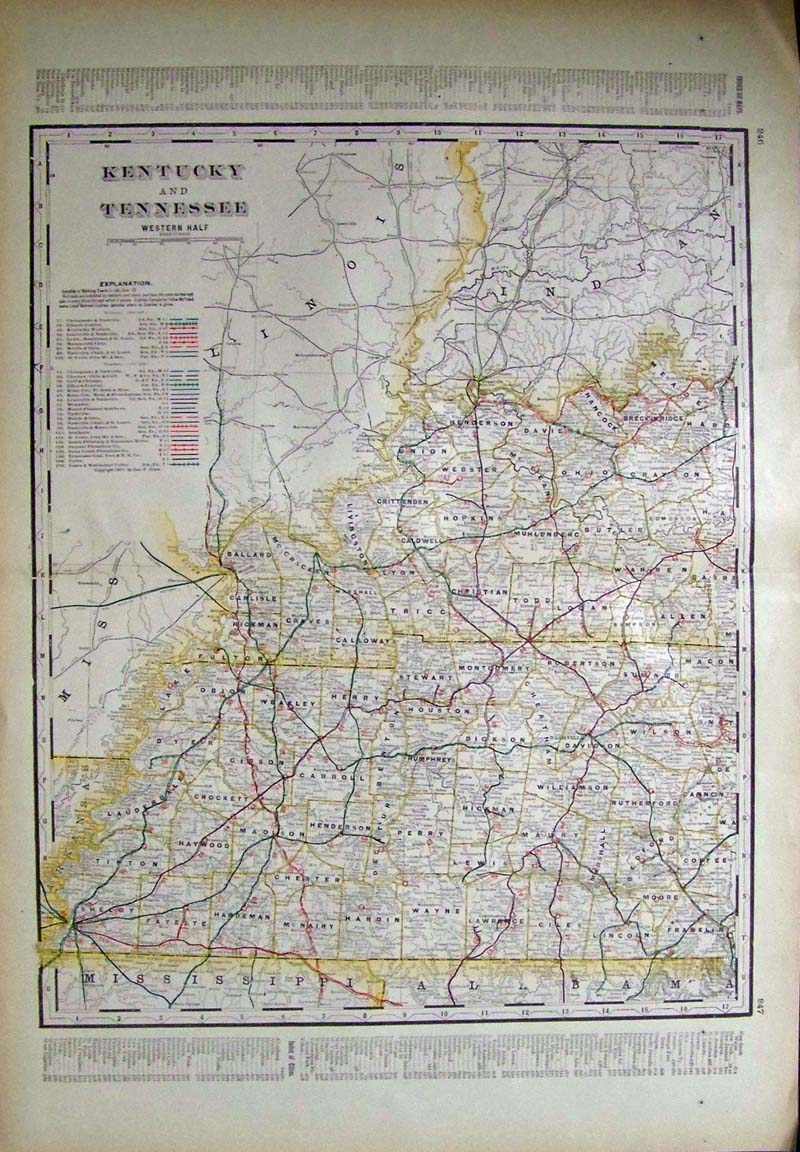Prints old rare tennessee antique maps prints 1901 map western tennessee and kentucky map from the 1901 first edition of george crams folio size world atlas color coded lines on the map show the gumiabroncs Choice Image