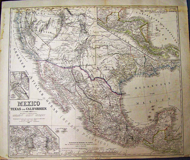 1852 kiepert map of mexico texas und californien fine large format map which also includes deseret utah territory and new mexico territory