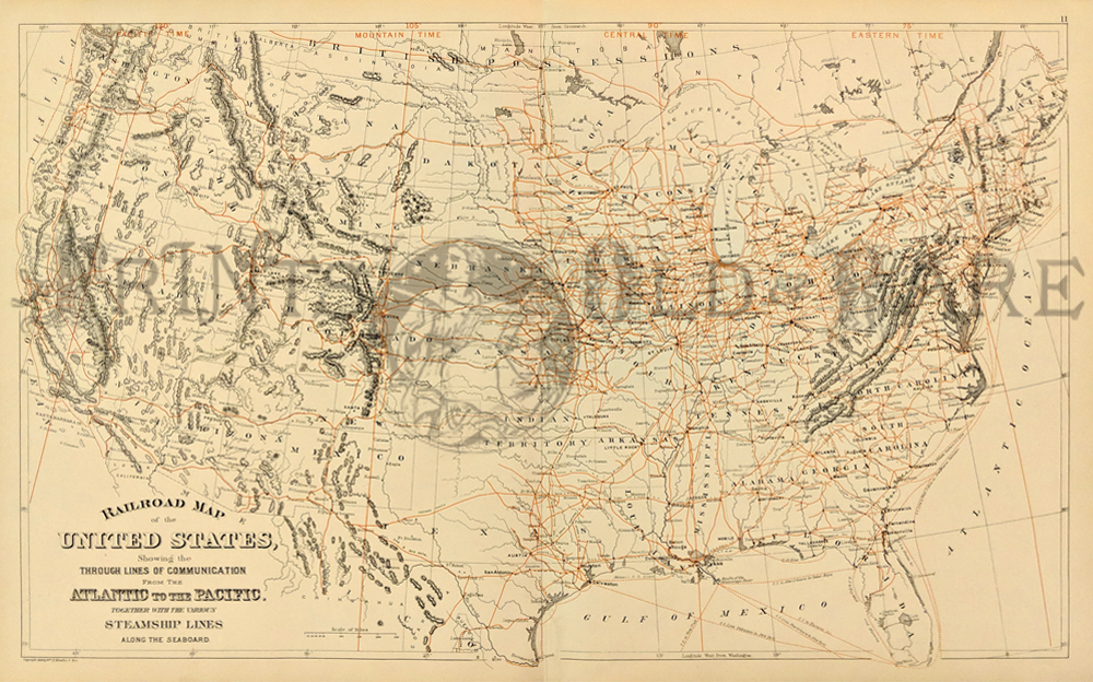 1889 railroad map of us scribner sons attractive color litho an amazing number of old railroad lines shown in red throughout country 26x17 12 in