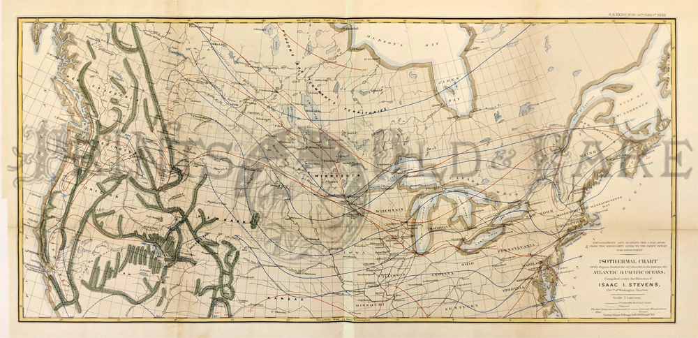 1860 isotherm chart map of us isotherm chart of northern united states and canada hand colored by isaac stevens governor of washington territory
