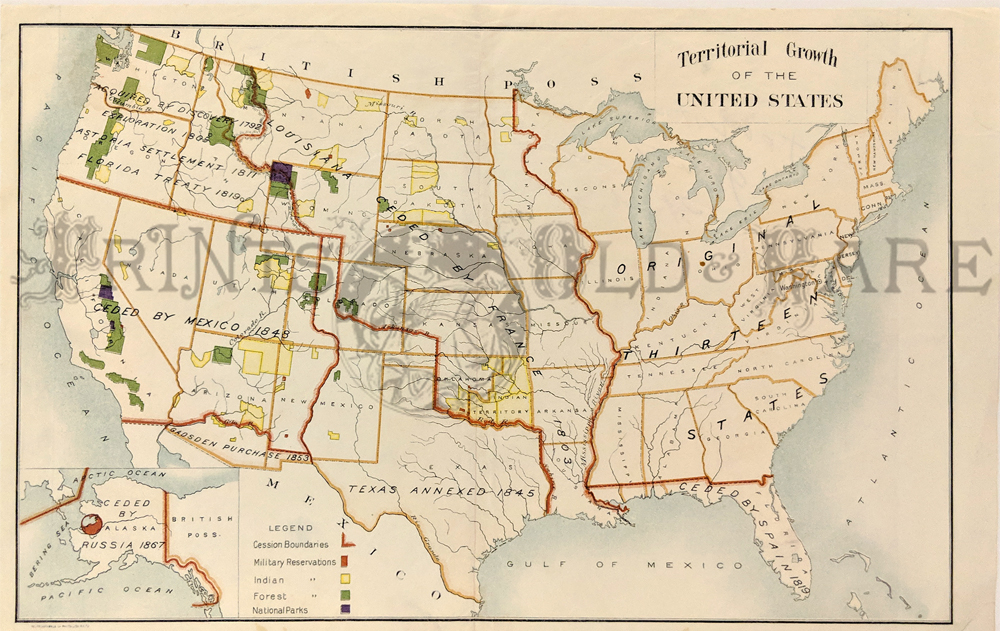 c1870 color map showing the territorial growth in the united states with an inset bottom left which shows alaska still being russian territory and the