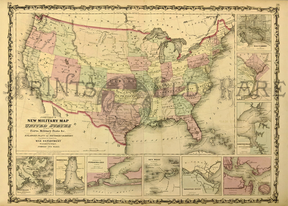 Prints Old Rare United States Of America Antique Maps Prints