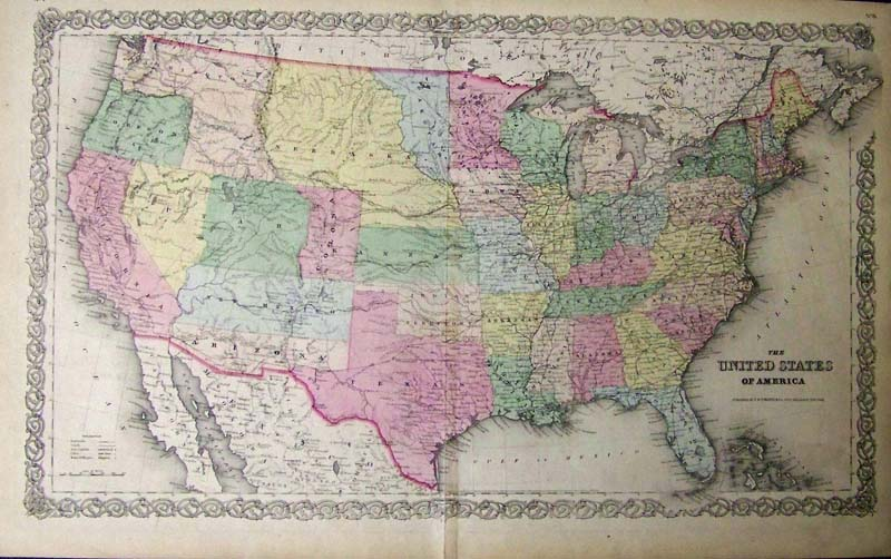 A Large Map Of The United States.Prints Old Rare United States Of America Antique Maps Prints