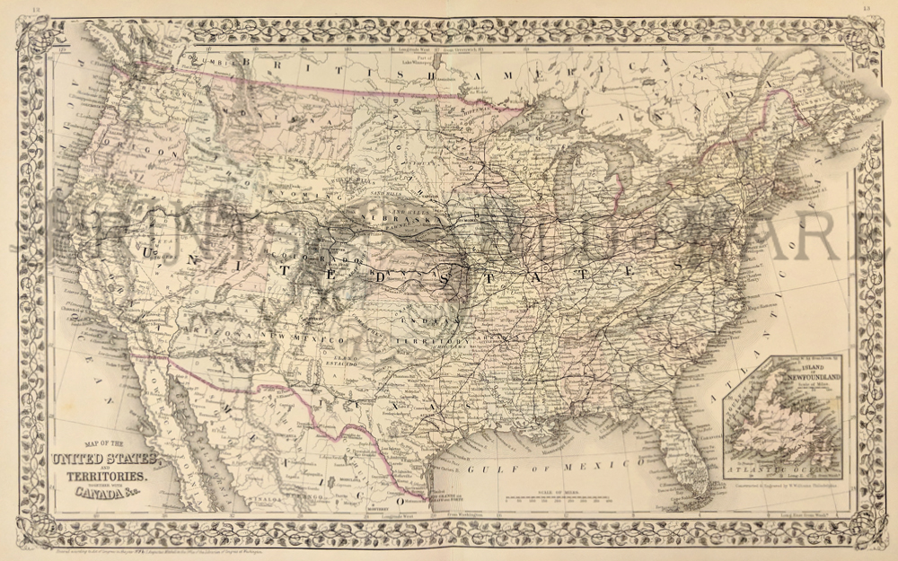 1879 mitchells original hand colored map of the united states and territories together with canada c inset of island of newfoundland on bottom right