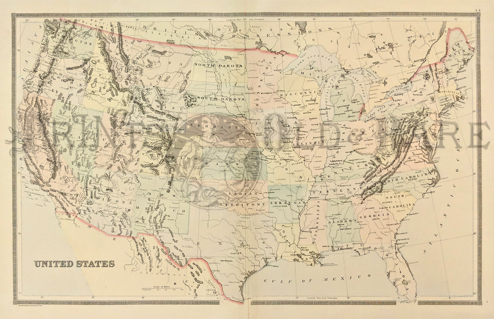Prints old rare united states of america antique maps prints 1891 bradleys atlas of the worlds hand colored map of the united states showing indian territory mountain ranges state capitols and other pertinent freerunsca Images