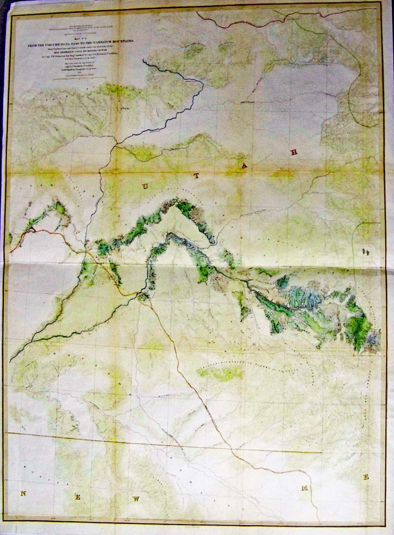 from the coo che to pa pass to the wahsatch mountains 1855 gunnisonbeckwith a large lithograph map with original coloring and gunnisons final and most