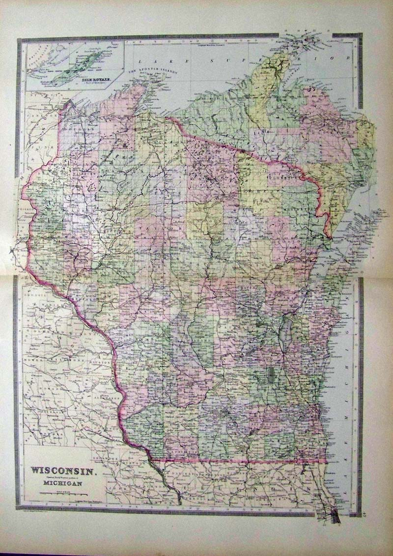 Prints old rare wisconsin antique maps prints 001wisconsin 1889 bradley map of wisconsin this beautiful map with original hand watercoloring was published in 1889 by m bradley gumiabroncs Images