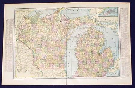 Prints old rare wisconsin antique maps prints great 1901 color map of wisconsin and michigan shows rivers railroads lists counties and chief cities 22x15 in 40 gumiabroncs Images