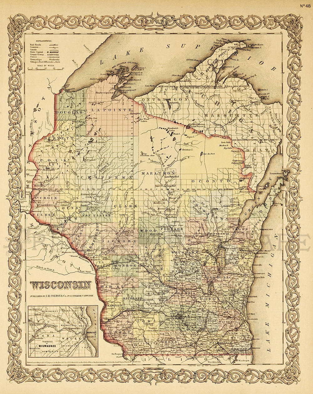 Prints old rare wisconsin antique maps prints 114wi 1855 coltons map of wisconsin this hand colored map shows individual counties and townships major cities are marked as well as rivers and gumiabroncs Images